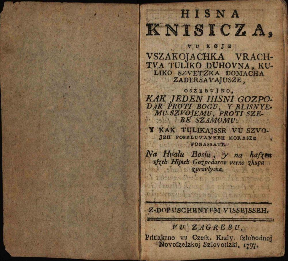 Naslovna stranica Hižne knjižice