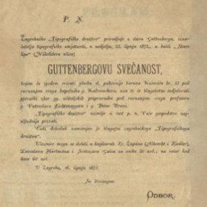 """Zagrebačko """"Tipografičko družtvo"""" priredjuje u slavu Guttenberga, iznašatelja tipografičke umjetnosti, u nedjelju, 23. lipnja 1872., u bašći """"Stare lipe"""" (Nikolićeva ulica) Guttenbergovu svečanost"""
