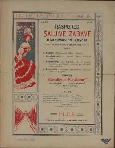 Raspored šaljive zabave u Maksimirskom perivoju : u subotu dne 6. veljače 1904. / Hrv. pjev. društvo