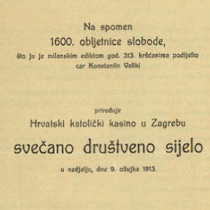 Svečano društveno sijelo / priređuje Hrvatski katolički kasino u Zagrebu