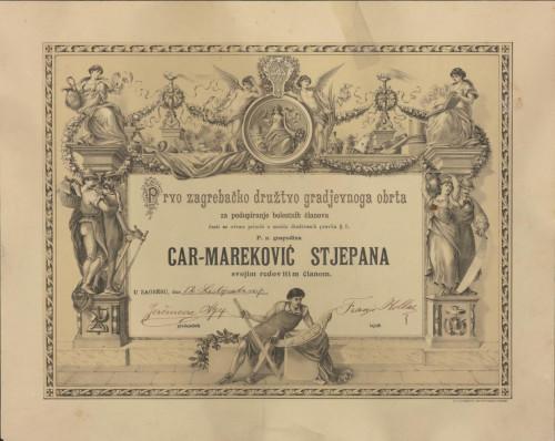 Prvo zagrebačko družtvo gradjevnog obrta za podupiranje bolestnih članova
