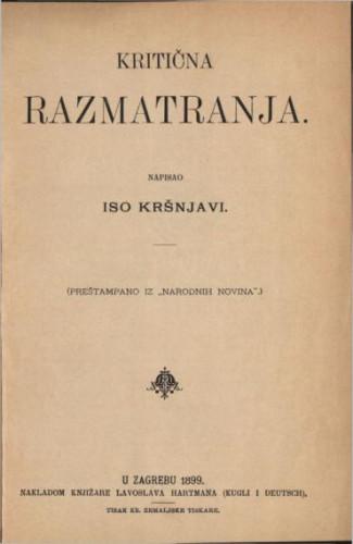 Kritična razmatranja / napisao Iso Kršnjavi