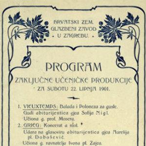 Program zaključne učeničke produkcije za subotu 22. lipnja 1901. / Hrvatski zem. glazbeni zavod