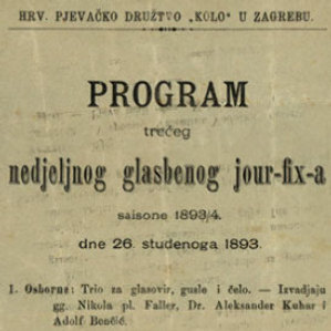 Program trećeg nedjeljnog glasbenog jour-fix-a : saisone 1893/4 : dne 26. studenoga 1893. / Hrv. pjevačko družtvo