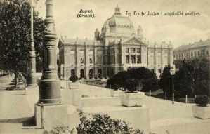 Zagreb (Croatie) : Trg Franje Josipa i umjetnički paviljon