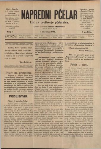 Napredni pčelar / urednik i vlastnik Pavao Wittmann