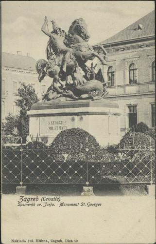 Zagreb (Croatie) : spomenik sv. Jurja = monument St. Georges