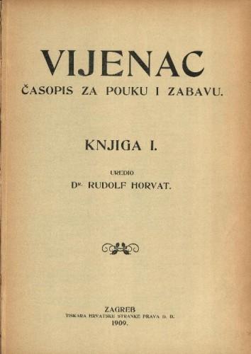 Vijenac : časopis za pouku i zabavu / [vlasnik i urednik Rudolf Horvat]