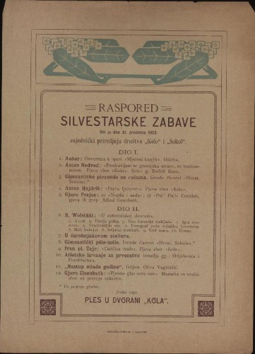 Raspored silvestarske zabave što ju dne 31. prosinca 1903. zajednički priredjuju društva