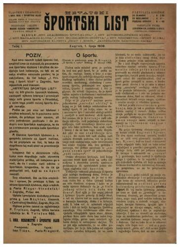 Hrvatski športski list / odgovorni urednik Mario Reger Vinodolski