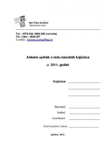 Anketni upitnik o radu narodnih knjižnica u 2011. godini