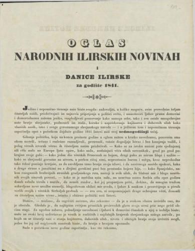 Oglas Narodnih ilirskih novinah i Danice ilirske za godinu 1841 / Ljudevit Gaj