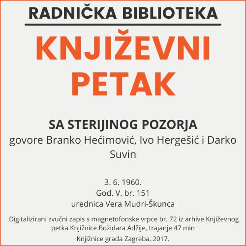 Sa Sterijinog pozorja : Književni petak, 3. 6. 1960., Radnički dom / govore Branko Hećimović, Ivo Hergešić i Darko Suvin ; urednica Vera Mudri-Škunca