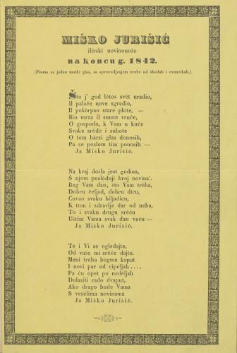 Na koncu g. 1842. : (Pěsma za jedan mužki glas, sa sprovodjenjem zveke od škudah i cvancikah.) / Miško jurišić ilirski novinonoša