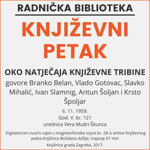 Oko natječaja Književne tribine : Književni petak, 6. 11. 1959. / govore Branko Belan ... [et al.] ; urednica Vera Mudri-Škunca