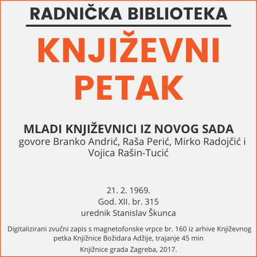Mladi književnici iz Novog Sada : Književni petak, 21. 2. 1969. / govore Branko Andrić ... [et al.] ; urednik Stanislav Škunca