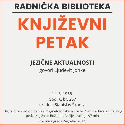 Jezične aktualnosti : Književni petak, 11. 3. 1966. / govori Ljudevit Jonke ; urednik Stanislav Škunca